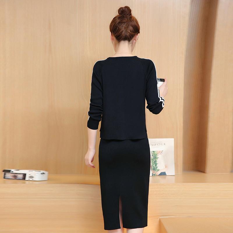魅言魅语2017#实拍韩版秋装针织套头上衣 一字裙两件套新款时尚套装