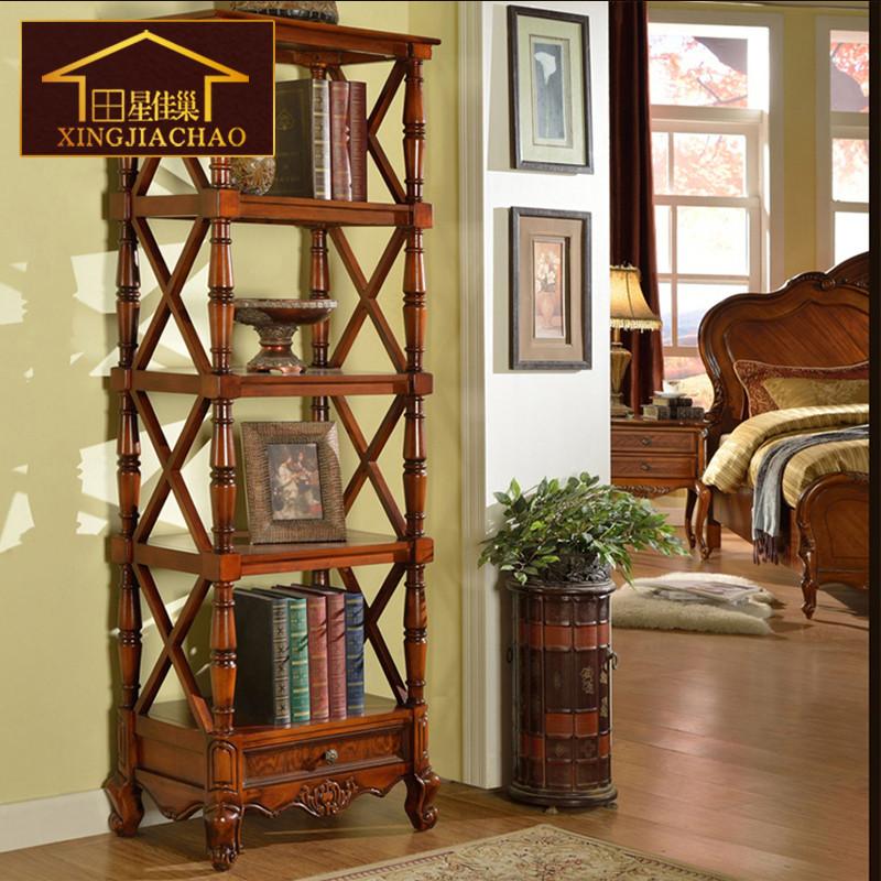 欧式墙面装饰品架 客厅实木花架花盆架落地 美式乡村置物架层架
