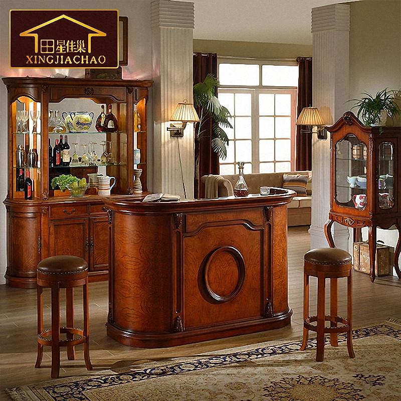 美式实木吧台 欧式酒吧桌家用隔断酒柜吧台柜简约