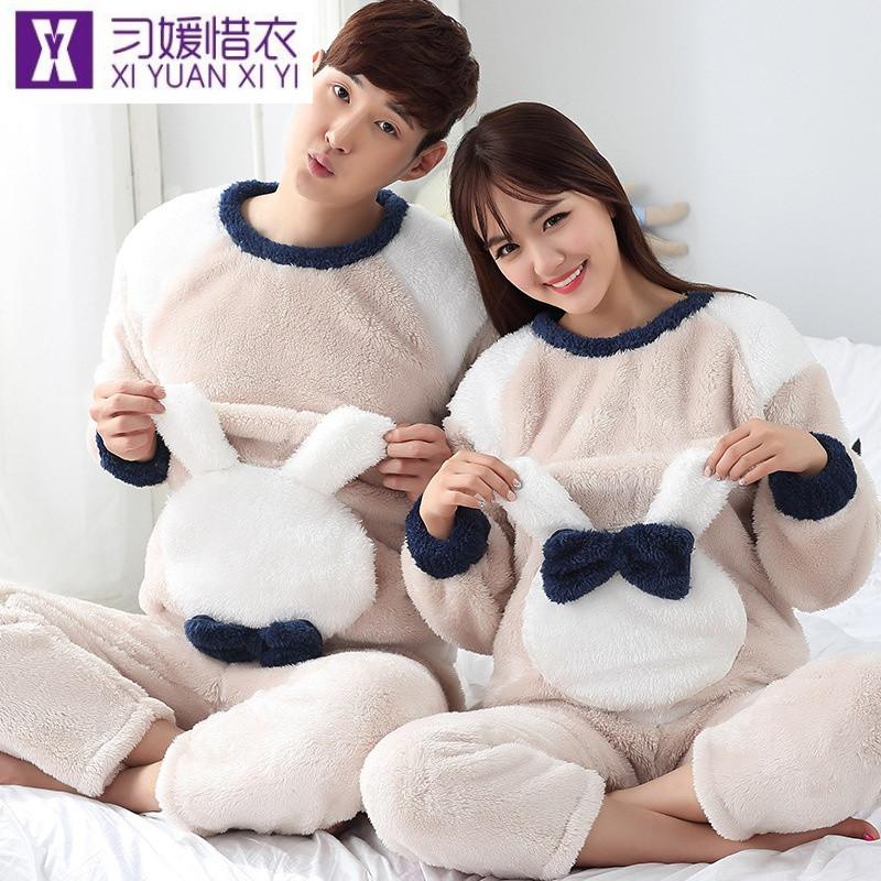 习媛惜衣 韩版冬季情侣温馨可爱兔兔长毛绒睡衣可外穿套装123(n145)