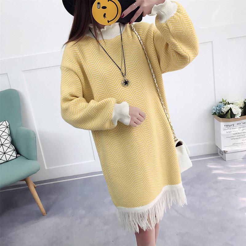 与牧中长款毛衣裙女套头可爱宽松外套韩版学生2017时尚新款潮衣服1602