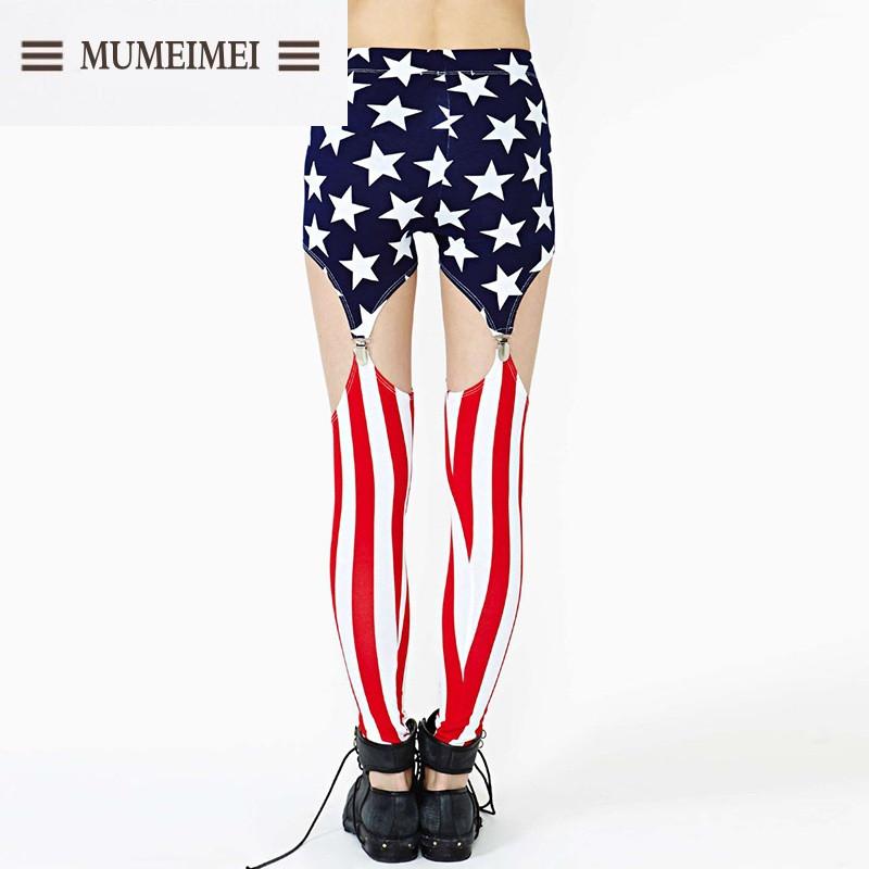 mum2017春装新款 欧美时尚星条旗吊带袜扣打底裤 好多