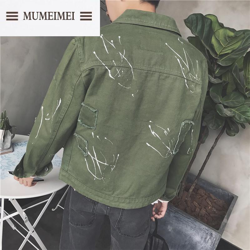mum2017春装新款破洞个性补丁夹克林弯弯韩版修身潮流