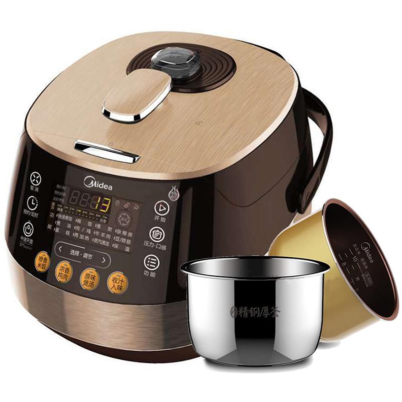 美的(midea)pss5050p 电压力锅 5l智能家用预约饭煲高压锅双胆