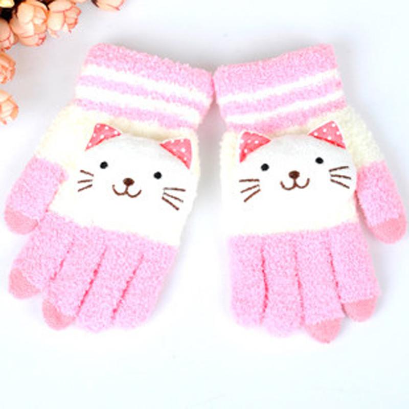 保暖加绒加厚毛线棉手套手套女冬季可爱韩版学生触屏手套男冬卡通