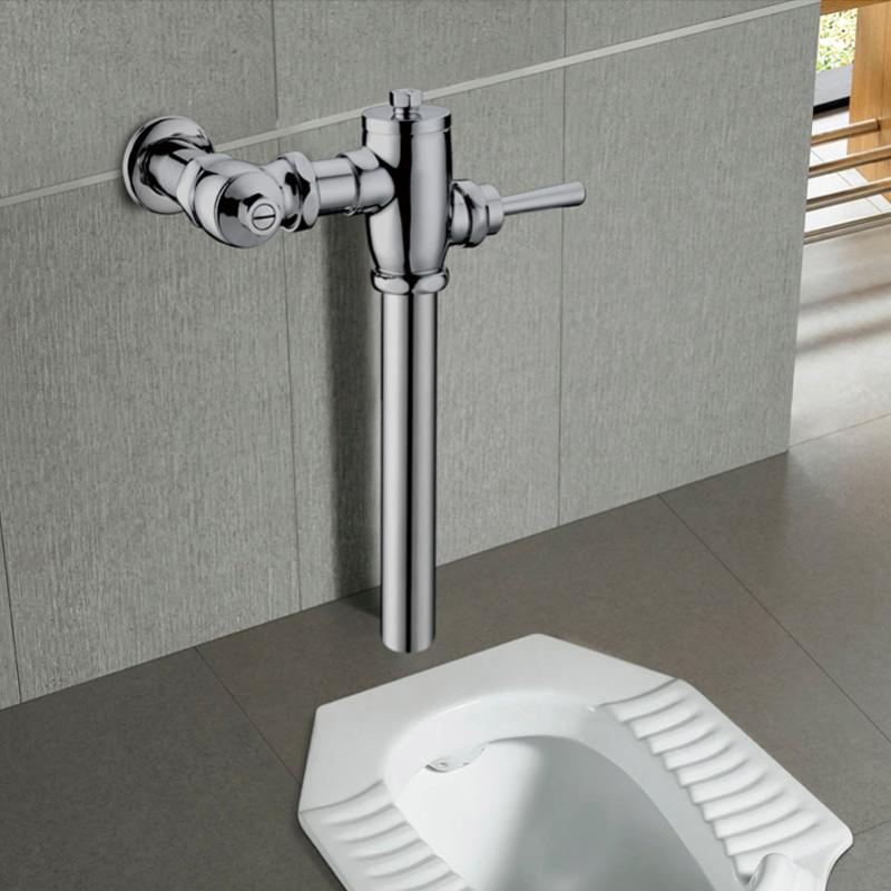 chao)全铜 蹲便器冲水阀 便池手按式大便冲洗阀门厕所开关卫生间伸缩图片