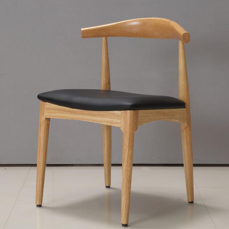 橡胶木欧式布艺牛角椅温莎椅宜家靠背椅子细腿椅子餐厅凳子时尚简约