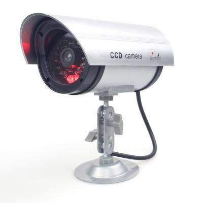 仿真攝像頭假監控攝像頭仿真監控假攝像頭帶燈槍式防雨室外可用 金屬支架。