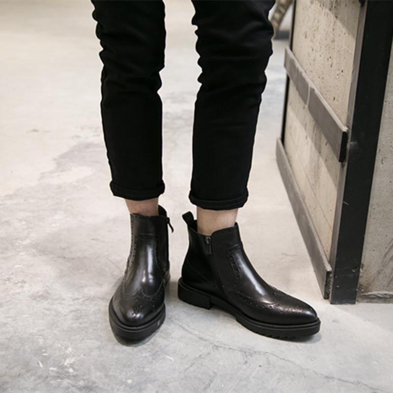 欧美厚底马丁靴男高帮皮鞋靴头切尔西男靴英伦皮靴复古男靴