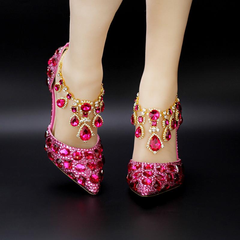 粉色水钻头新娘鞋高跟细跟水晶腕带婚鞋优雅水晶女鞋凉鞋
