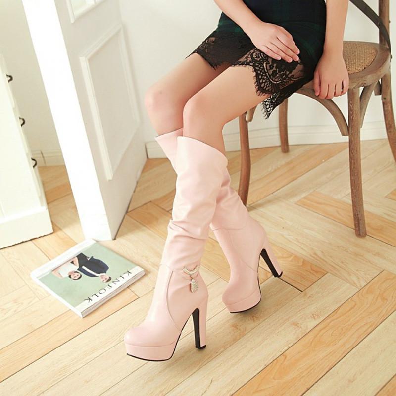 骑士白靴的美女_白色新款秋季靴 性感防水台高跟高筒靴 粗跟女靴子 长靴骑士靴鞋