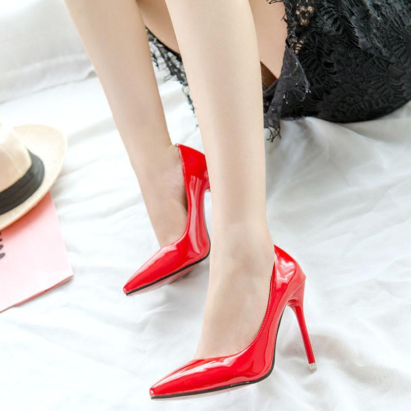 欧美春秋新款女鞋子性感夜店裸色尖头高跟鞋细跟新娘鞋婚鞋单鞋