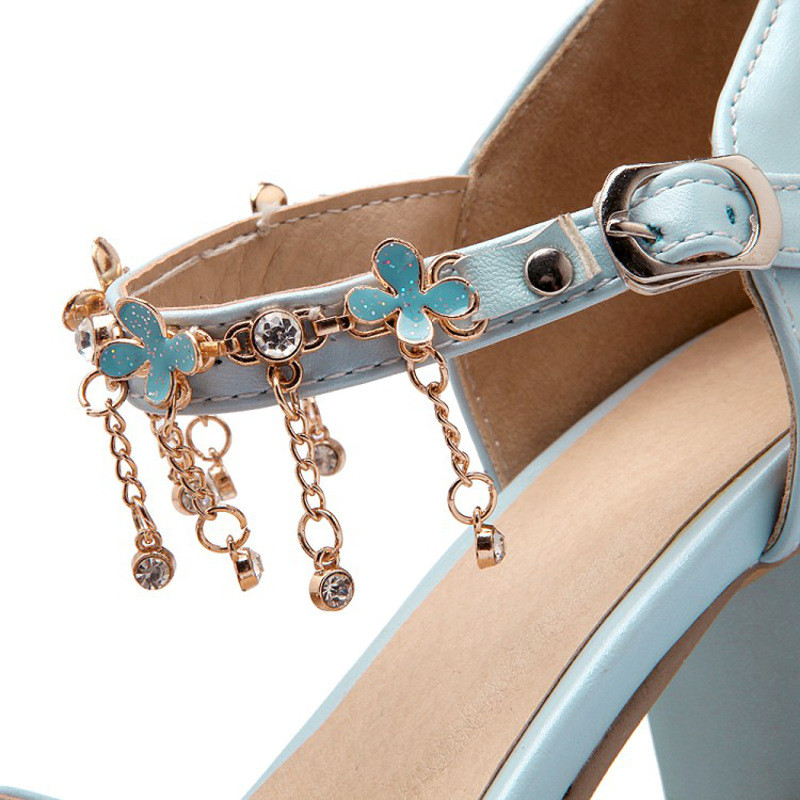 夏季10-12-15岁小女孩公主鞋女童凉鞋水钻链子包头童鞋大童高跟鞋