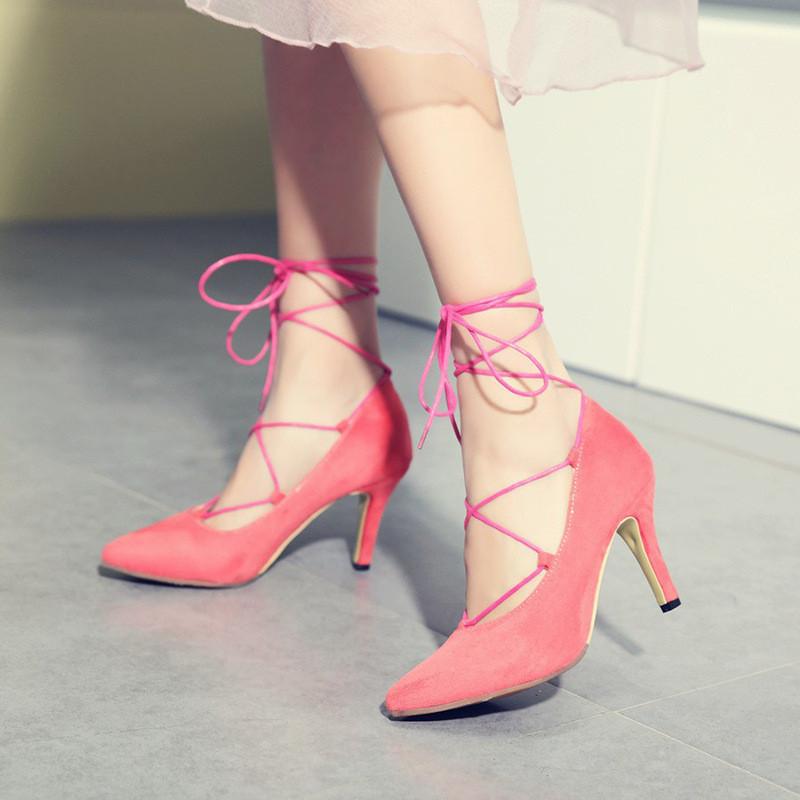 细跟高跟鞋女春季2017新款欧美性感绑带尖头鞋百搭单鞋夜店女鞋子
