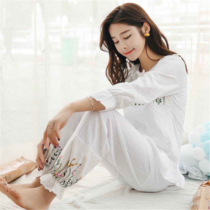 卓胜基韩版睡衣女秋纯棉长袖甜美可爱公主春季日系宫廷风全棉家居服套