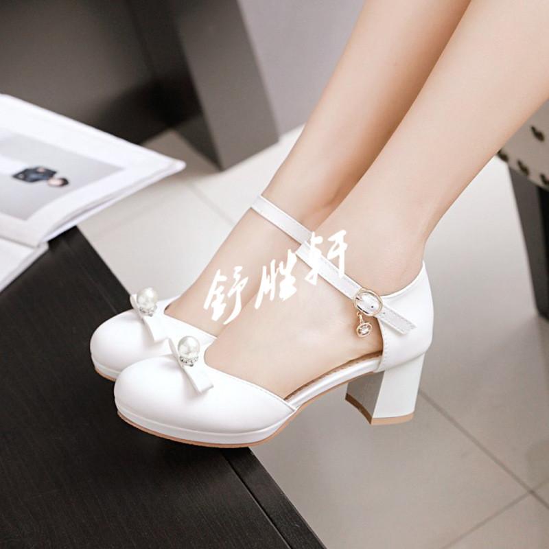 中大童高跟凉鞋小女孩蝴蝶结公主鞋儿童珍珠礼服鞋夏季包头女童鞋