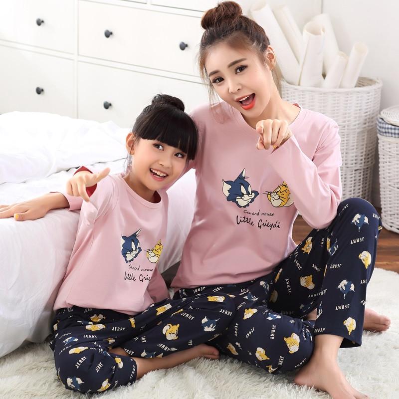 可爱时尚猫鼠卡通纯棉儿童亲子装睡衣家居服套装 秋天男女士情侣休闲
