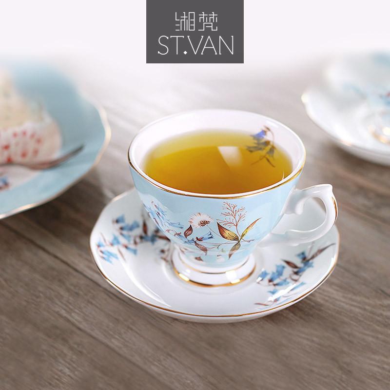湘梵骨瓷欧式咖啡杯套装骨瓷荷叶边咖啡杯碟勺乡村杯