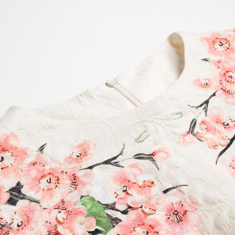 歌依图2016春夏欧美时尚女装新款荷叶袖印桃花立体花瓣刺绣中长款