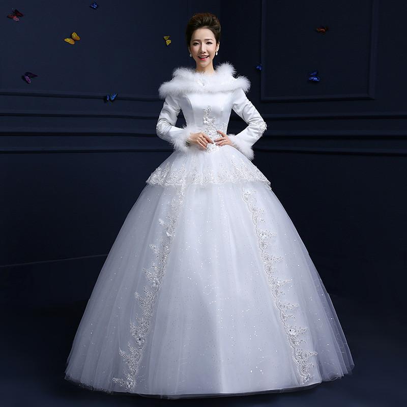 优弘婚纱礼服冬季冬款长袖加棉加厚修身齐地长袖冬款 图片