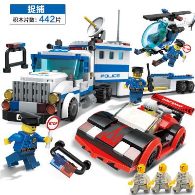 追踪捉捕 警察车 消防车 消防直升机 益智玩具拼装积木 兼容乐高积木