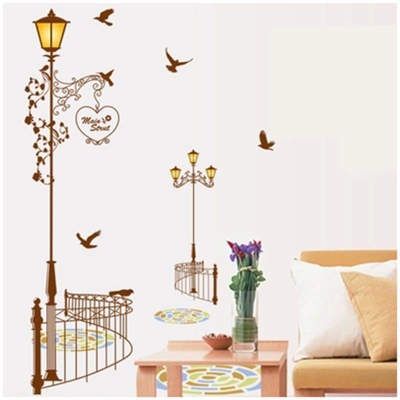 宜佳蕙墙壁贴纸欧式路灯墙贴卧室客厅房间装饰品墙画贴创意墙面墙上