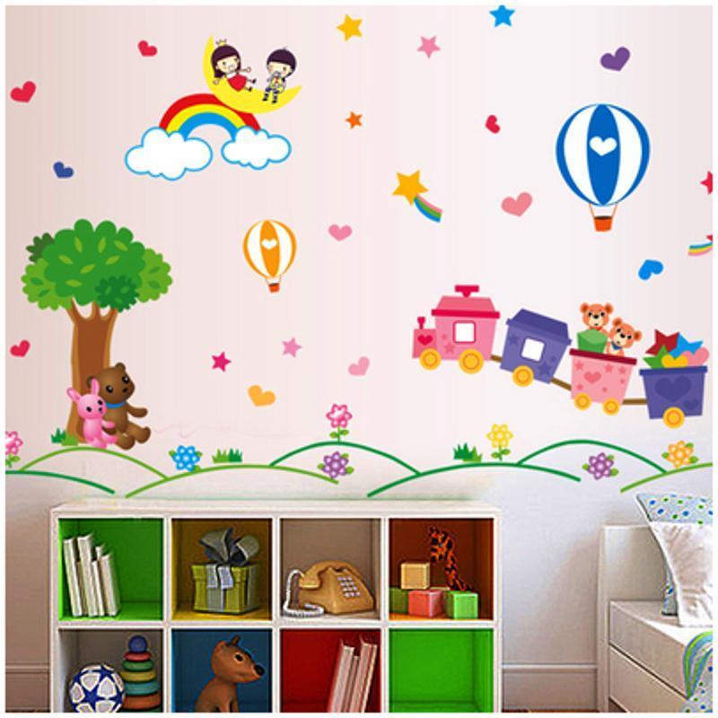 宜佳蕙可移除卡通儿童房宝宝贴纸幼儿园早教小动物玻璃双面墙贴画