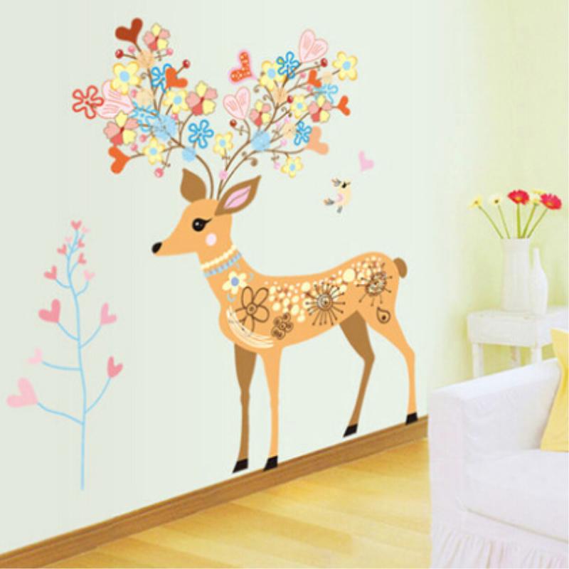 梅花鹿吉祥创意墙贴玄关客厅装饰墙贴卧室床头墙贴纸墙饰玻璃贴纸图片