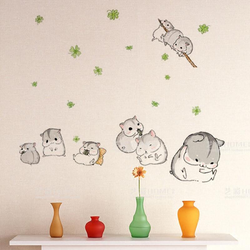 可爱小仓鼠卡通动漫贴画儿童房墙面装饰贴纸卧室床头自粘壁画墙贴