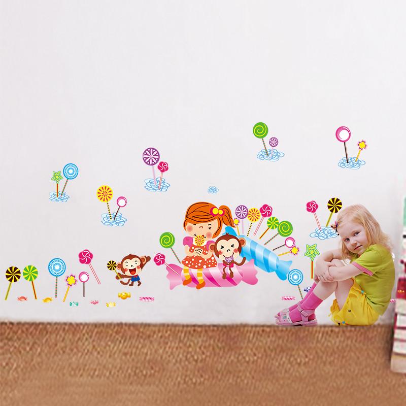 儿童房卡通可爱甜食墙贴纸背景装饰贴画 零食店橱窗布置 棒棒糖