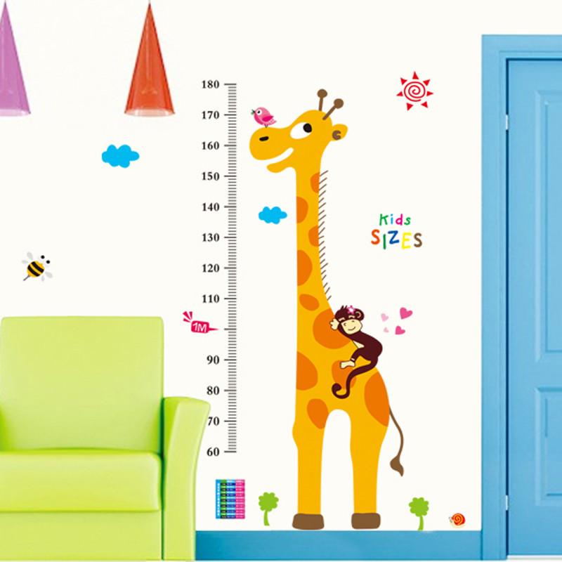 pvc卡通测量身高树墙贴纸幼儿园儿童房装饰品 墙面贴画长颈鹿小鸟