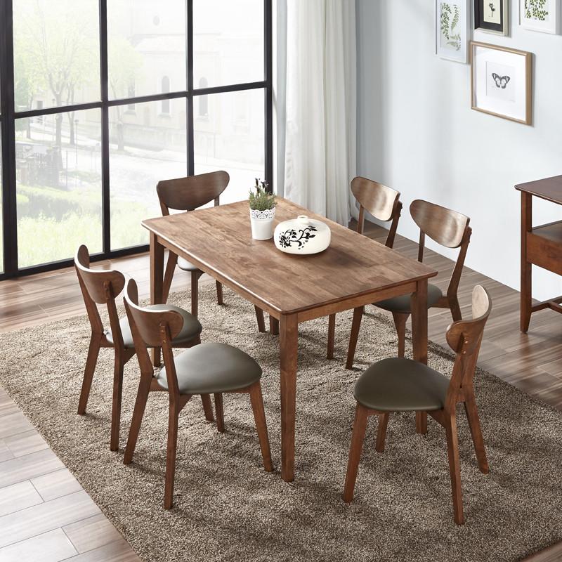 林通 北欧现代简约田园式实木餐桌 小户型餐桌橡胶木实木4人6人餐桌椅图片