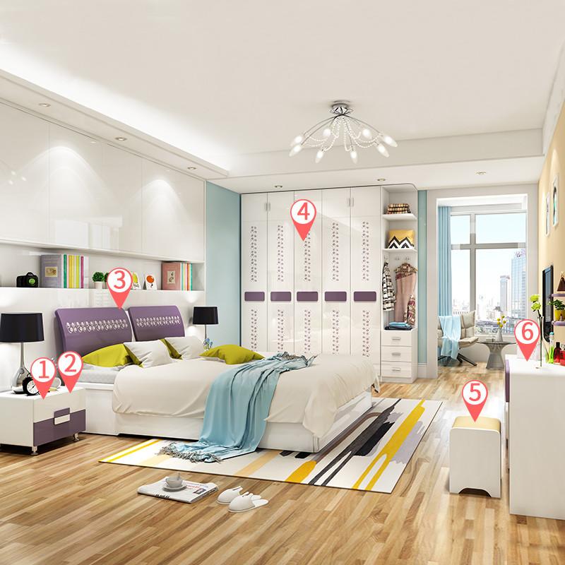 依緣坊 臥室成套家具現代簡約雙人床儲物氣動高箱床臥室家具組合