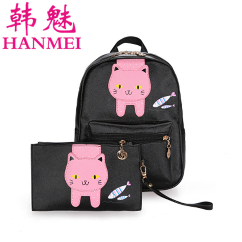 hanmei女童双肩包韩版大童可爱猫咪卡通背包两件套儿童时尚休闲出游书