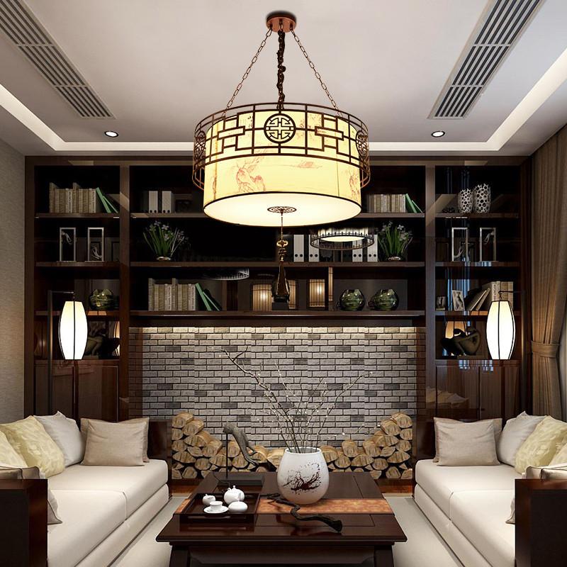 海斯锐 现代新中式吊灯圆形仿古典卧室客厅吊灯复古简约大气铁艺书房