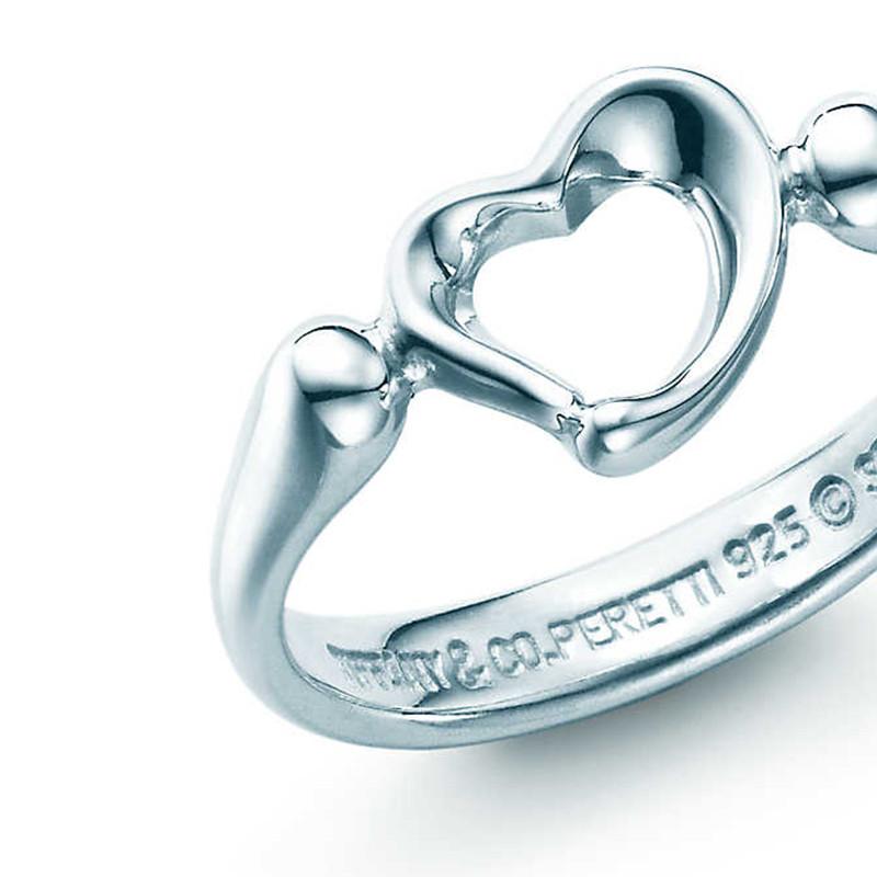 tiffany:蒂芙尼 925银open heart 镂空心形戒指图片
