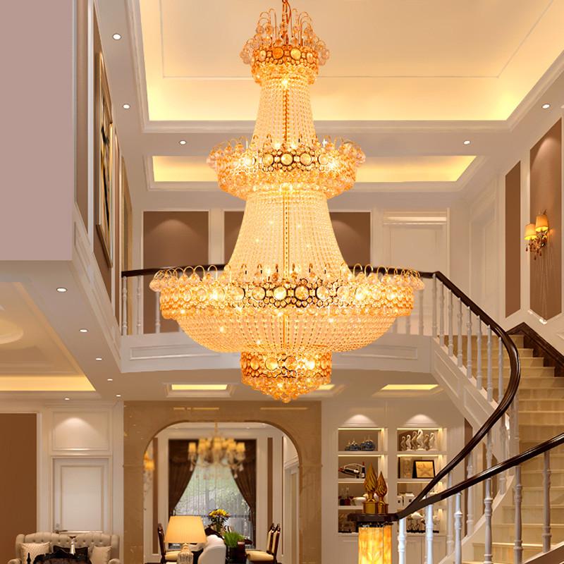 晶誉 复式楼梯水晶灯 别墅客厅灯大吊灯 酒店工程水晶灯圆形大厅吊