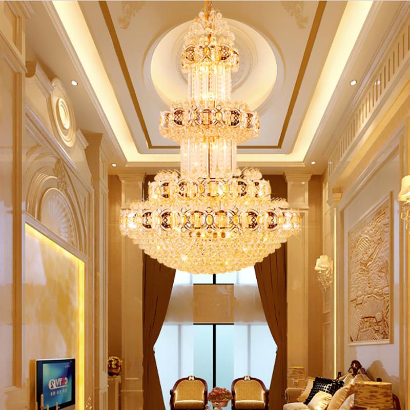 晶誉 复式楼客厅水晶大吊灯 别墅楼梯灯长吊灯 水晶灯图片