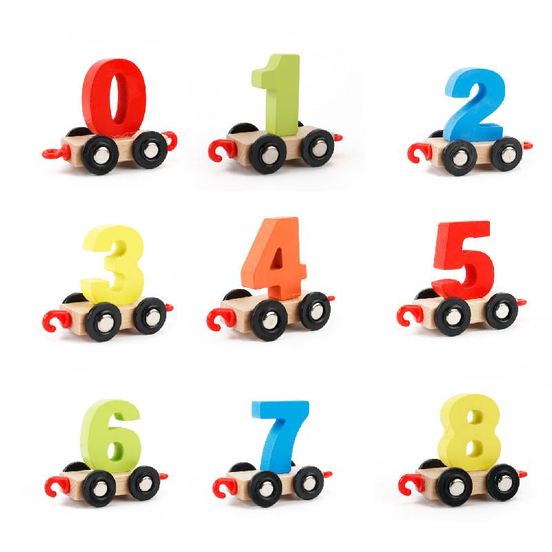 萱宝木玩数字小火车积木玩具儿童益智拼装拼插男孩1-2-3-4-5-6周岁