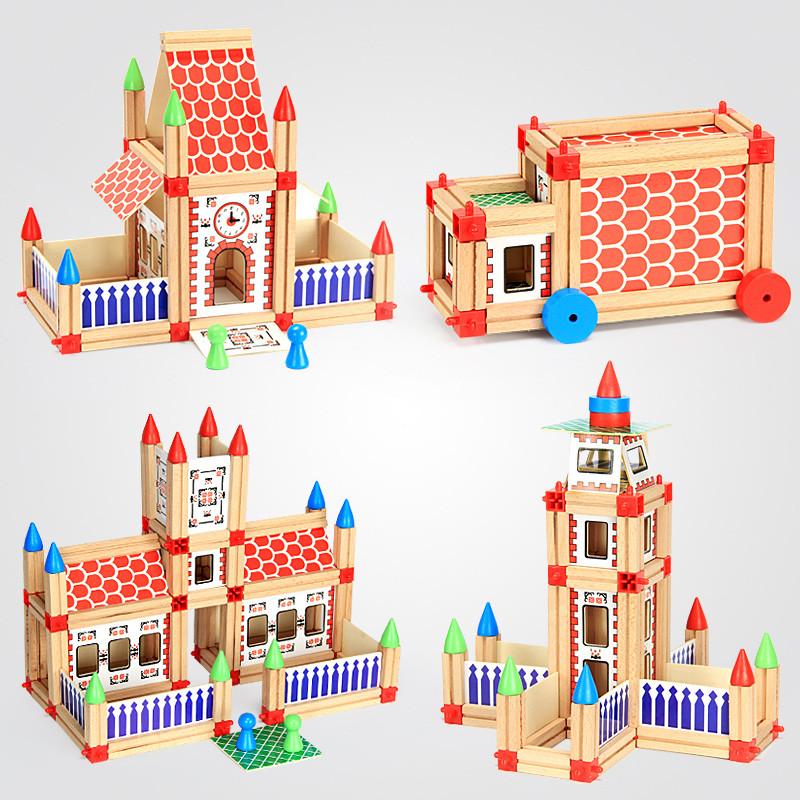 萱宝木玩木质儿童玩具积木建筑大师积木幼儿早教创意拼插积木玩具1-3