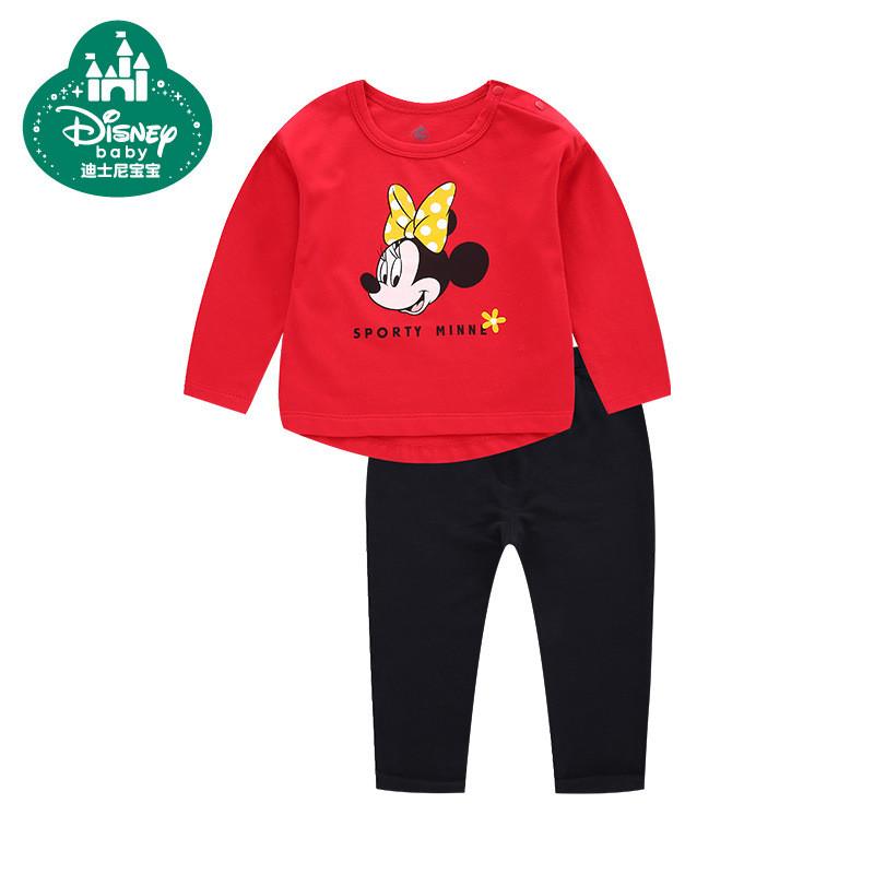 迪士尼宝宝童装女童纯棉长袖套装春秋套头衫宝