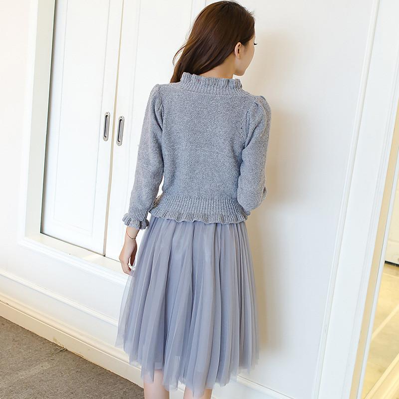 秋冬新款韩版针织连衣裙套装裙两件套显瘦女中长款修身打底毛衣裙
