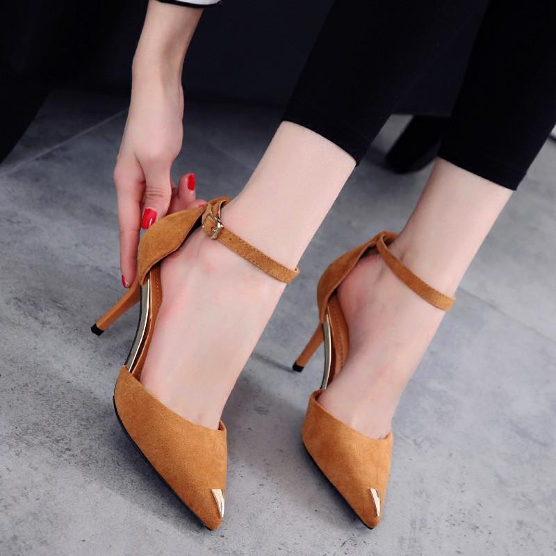 韩版2017春夏新款性感尖头高跟鞋时尚细跟浅口百搭一字扣带单鞋女