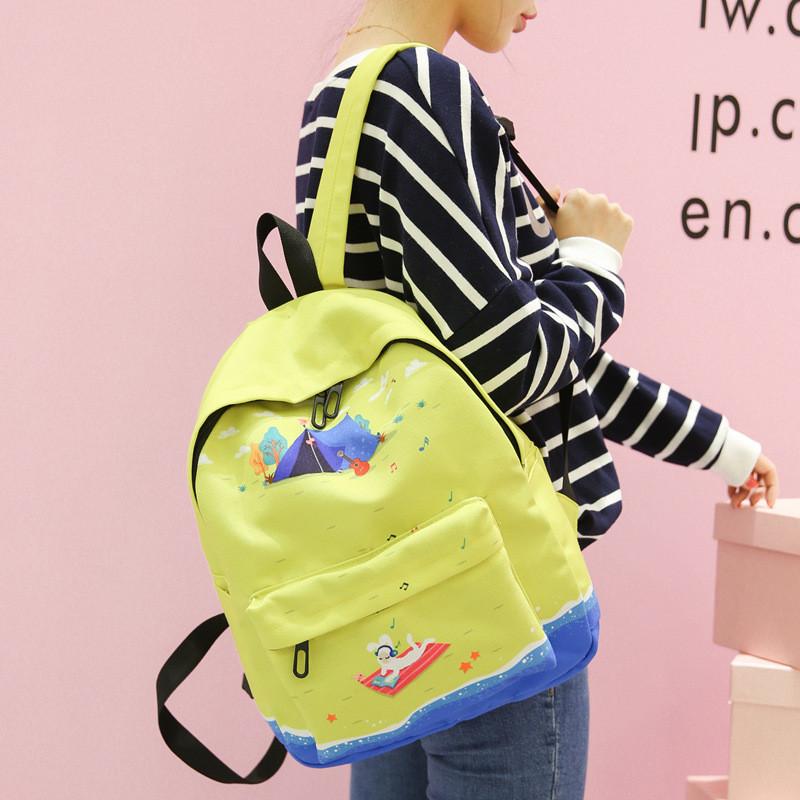 日韩版印花牛津布初高中学生书包双肩包女可爱学院风旅行电脑背包