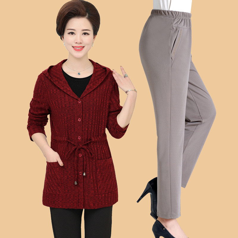 中年女装秋装针织衫外套上衣裤子两件套中老年人妈妈装春秋款套装