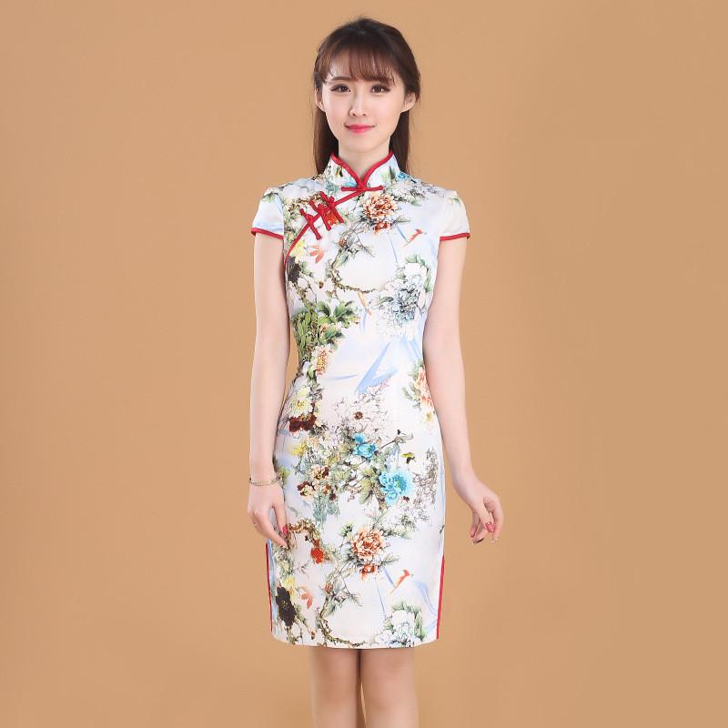 真丝旗袍裙2016新款夏装日常改良复古时尚修身短款旗袍夏连衣裙女