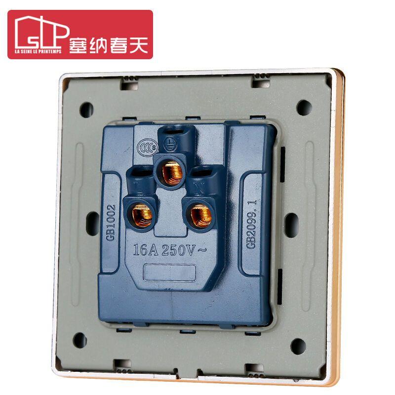 插座香槟金色空调插座86型大功率16a三孔插座面板 16a三孔空调插座