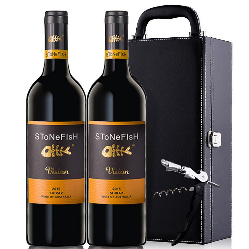 澳洲原瓶进口红酒 石鱼酒庄西拉干红葡萄酒礼盒装750ml*2