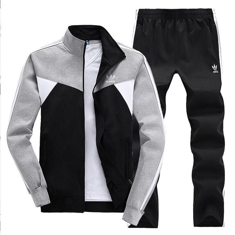 3326#90 阿迪达斯男士套装纯棉长裤套装休闲运动套装长袖图片