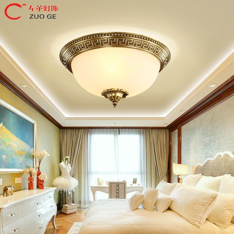 左革全铜欧式吸顶灯led圆形美式客厅灯简欧卧室灯阳台